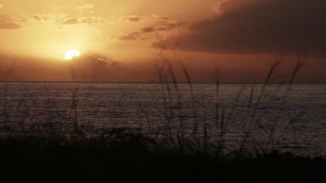 vidéos et rushes de sunset over ocean on reunion island, timelapse - french overseas territory