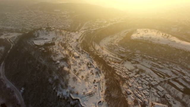 Sunset over old town of Veliko Tarnovo