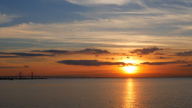 Sunset over Oresund Baltic Sea