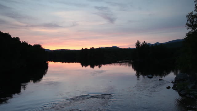 Sunset over Penobscot River, wide