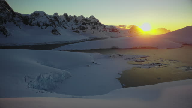 sunset over port lock roy - antarctica sunset stock videos & royalty-free footage
