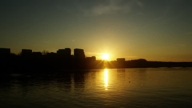 vídeos y material grabado en eventos de stock de puesta de sol sobre el río potomac timelapse - río potomac
