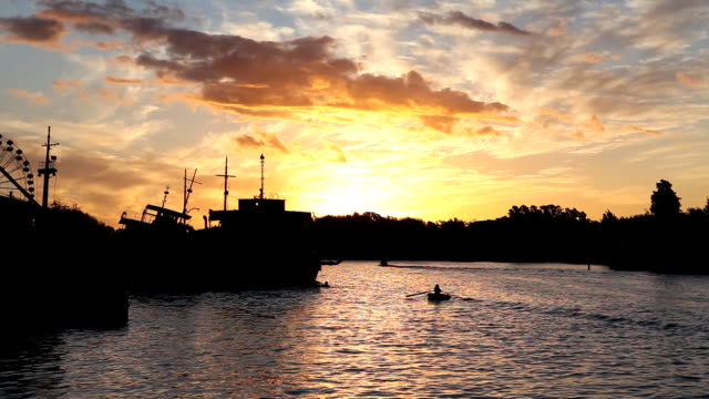 sunset over rio de la plata - buenos aires stock videos & royalty-free footage