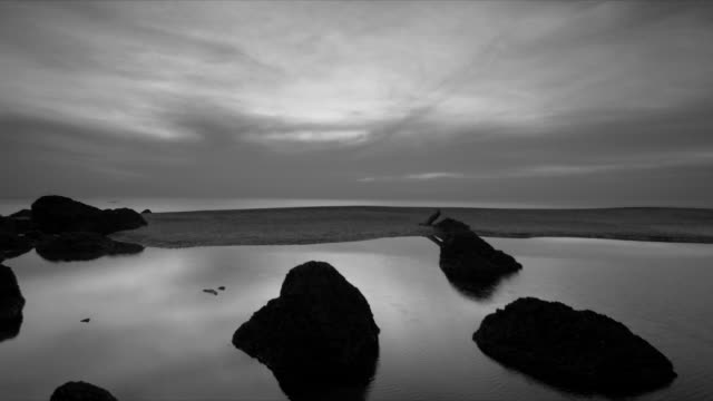 t/l sunset over rocky pool - beenden stock-videos und b-roll-filmmaterial