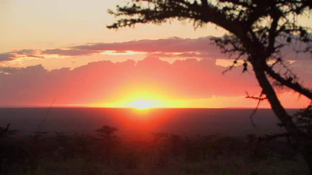 WS, Sunset over savanna, Laikipia, Kenya