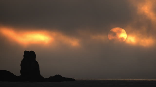 sunset over seastacks, rialto beach, olympic national park, washington - olympic national park stock videos and b-roll footage