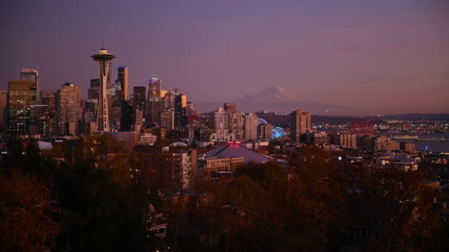 sunset over seattle - mt rainier stock videos & royalty-free footage