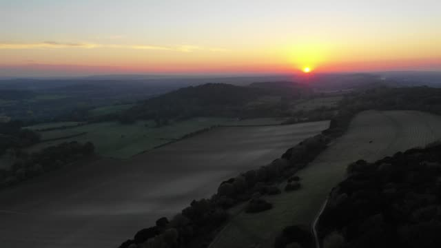 sunset over surrey - surrey england stock videos & royalty-free footage