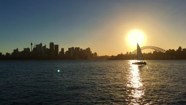 sunset over sydney harbour - 4k resolution stock videos & royalty-free footage