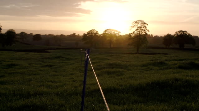 Sunset Over The British Countryside With Electric Fence