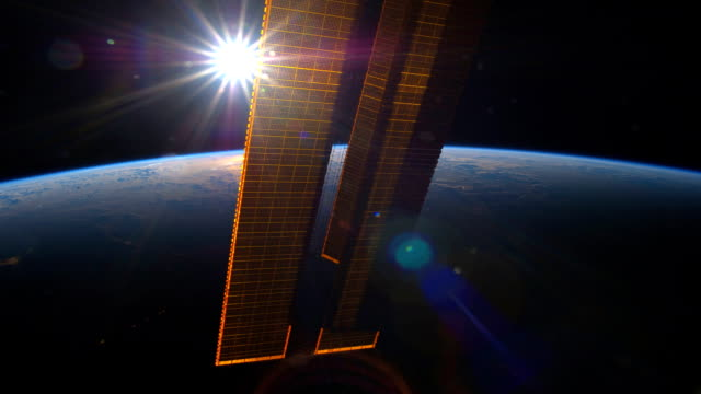 sunset over the earth planet viewed from the international space station iss - 1 minute or greater stock videos & royalty-free footage