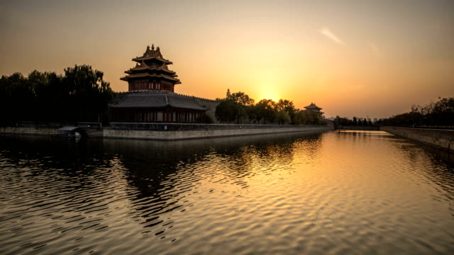 sunset over the forbidden city - forbidden city stock videos & royalty-free footage