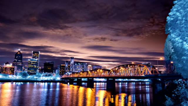 Sunset Over the Hawthorne Bridge in Portland, Oregon