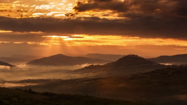 sunset over the hills in istria, croatia - croatia stock videos & royalty-free footage