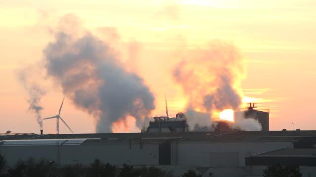 Sunset over the Iggesund paper board manufacturer