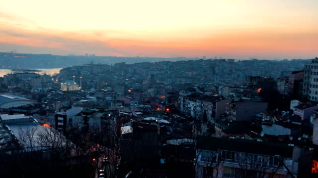 sunset over the kasimpasa neighbourhood and the golden horn on march 92018 in istanbul turkey - istanbul stock videos & royalty-free footage
