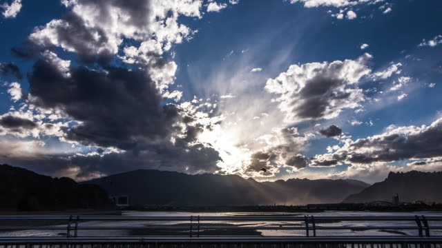 sunset over the Lhasa River