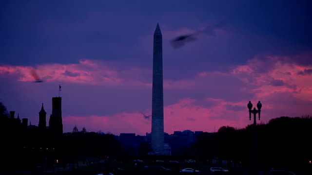 sunset over the national mall with washington monument - tl - smithsonian institution stock videos & royalty-free footage