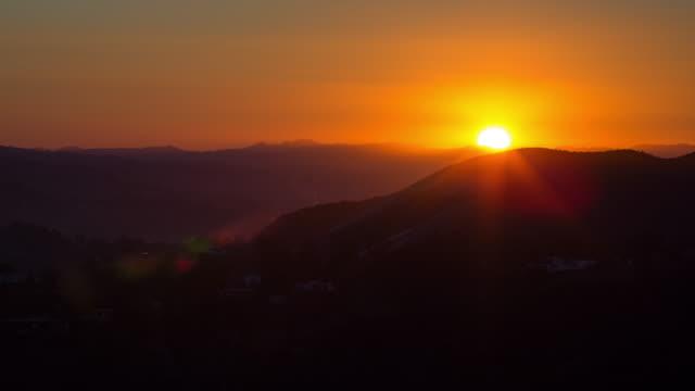 sunset over the santa monica mountains - santa monica sunset stock videos & royalty-free footage