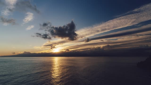 sunset over the sea and mountains in antalya - sunset to night stock videos & royalty-free footage