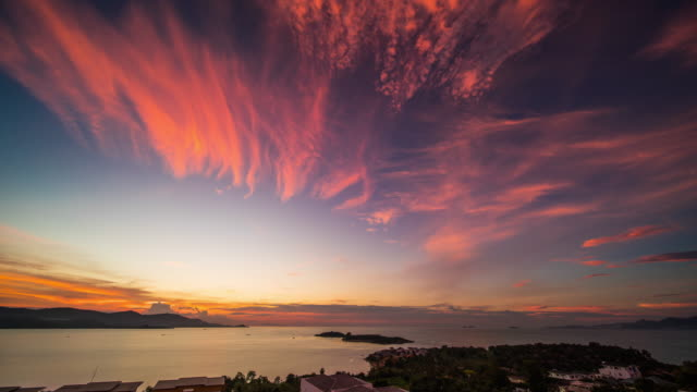 sunset over the sea - ko samui stock videos & royalty-free footage