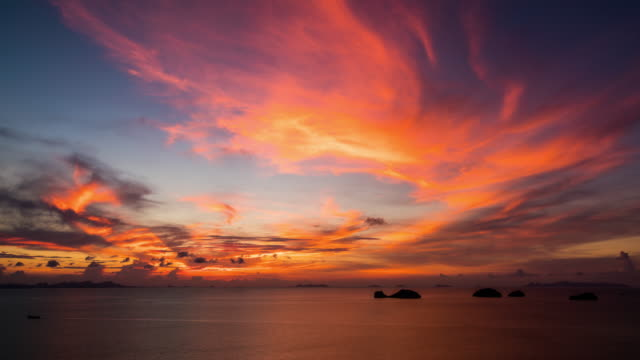 sunset over the sea - thailand stock videos & royalty-free footage