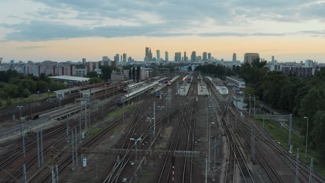 sunset over train station in warsaw - eastern european culture stock videos & royalty-free footage
