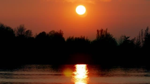 vidéos et rushes de sunset over planté d'arbres rivière - river danube