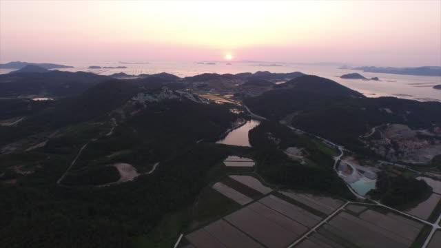 Sunset panorama of Nohwado Island (famous for abalone production)