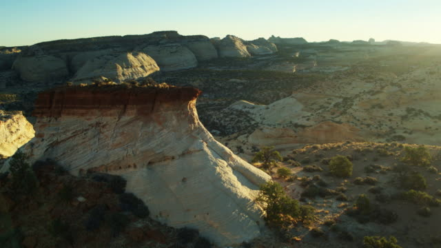 sunset rays on eagle canyon, utah - drone shot - san rafael swell stock videos and b-roll footage