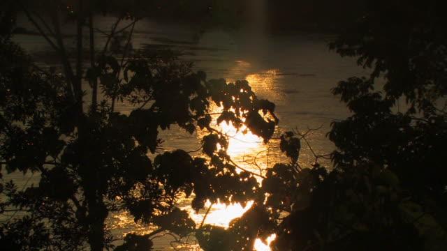 HA MS sunset reflection in river/ Manu National Park, Peru