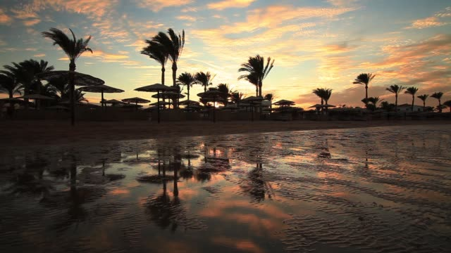 stockvideo's en b-roll-footage met sunset reflection in the water on the beach. - rode zee