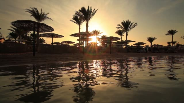 sunset reflection in the water on the beach. - hurghada stock-videos und b-roll-filmmaterial