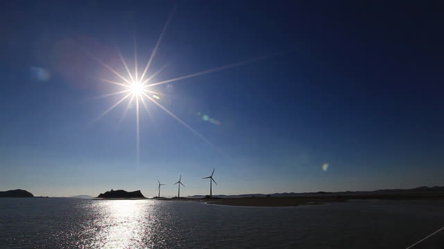 Sunset scene of wind Turbines at Tandohang port