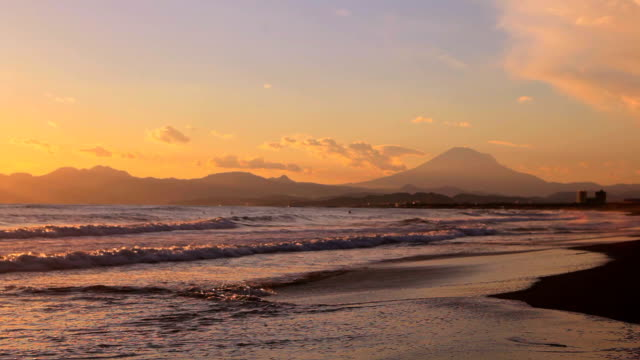 sunset scene on the sea and mt fuji in japan. - plusphoto stock videos & royalty-free footage