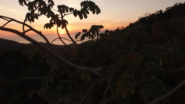 AERIAL Sunset seascape in Costa Rica