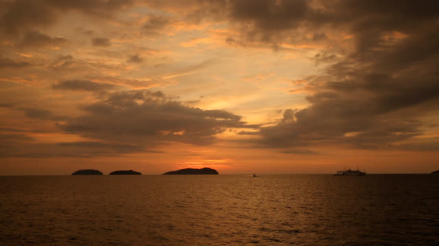 Sunset seascape of Kota Kinabalu Island