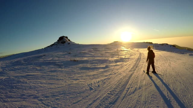 sunset skiing - snowboarding stock videos and b-roll footage