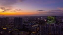sunset sky bangalore cityscape aerial panorama timelapse 4k india