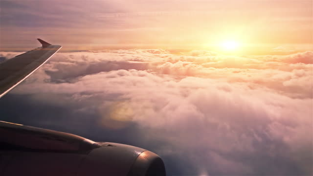 sunset sky from airplane - viewpoint stock videos and b-roll footage