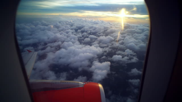 Sunset sky from airplane