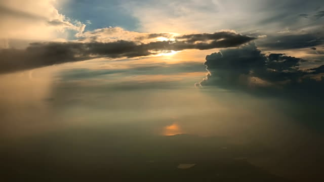 sunset sky from airplane - stratosphere stock videos & royalty-free footage