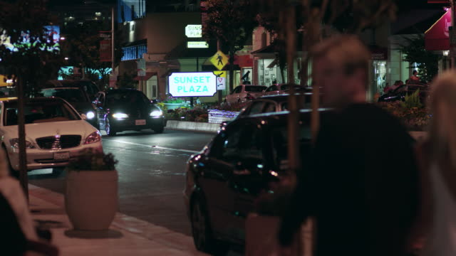 vídeos de stock, filmes e b-roll de montage sunset strip after dark and busy with nightlife / west hollywood, california, united states - west hollywood