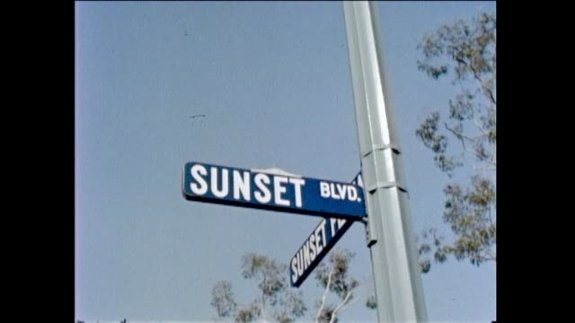 stockvideo's en b-roll-footage met sunset strip scene exterior day 1960s vintage - west hollywood