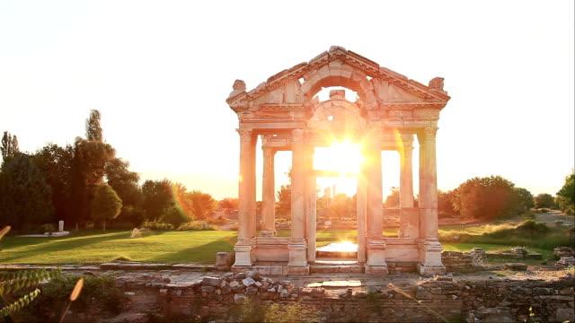 hd: sunset tetrapylon of aphrodisias - time lapse - goddess stock videos and b-roll footage
