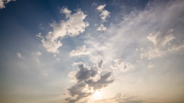 sunset time lapse and cloudy with blue sky - cumulus cloud stock videos & royalty-free footage