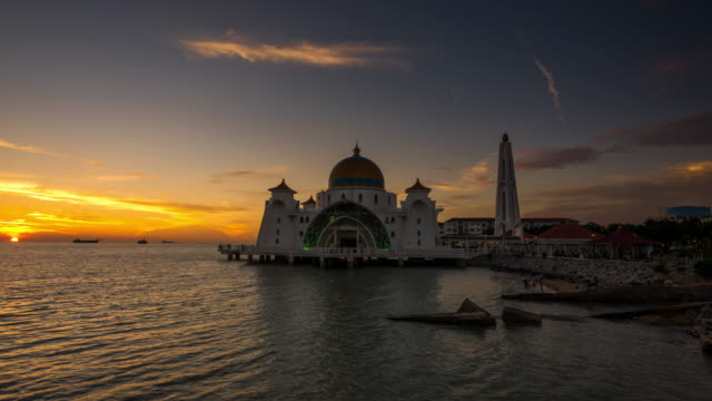 sunset time lapse at malacca straits mosque - straits stock videos and b-roll footage