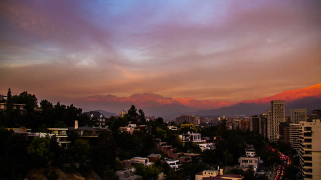 sunset time lapse facing the city and mountains in santiago chile - dusk stock videos & royalty-free footage