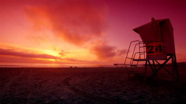 sunset time lapse in san diego pacyfic beach 4k - light effect stock videos & royalty-free footage