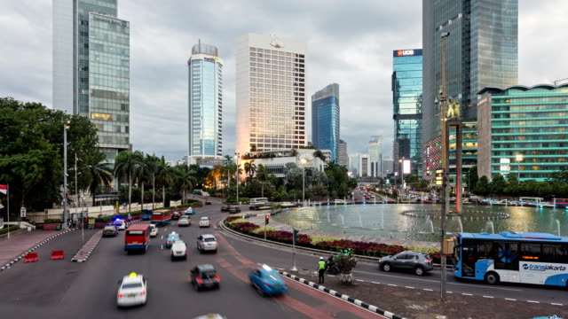 sunset time lapse in the heart of jakarta business district. - jakarta stock videos & royalty-free footage